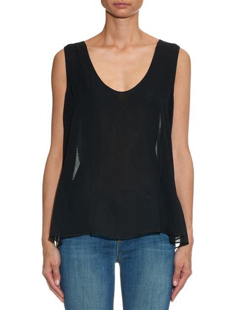 Silk Chiffon Top by Raey Sleeveless Silk Chiffon Top In Black Lyst
