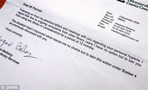 Customer Banning Letter Banned From Local Library After Complaints His Odour Daily Mail