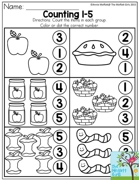 kindergarten activities counting counting 1 5 count the items in each group and dot or