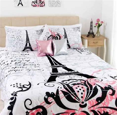 White Full Duvet Cover Stunning Paris Eiffel Tower Black Flocking Queen Size