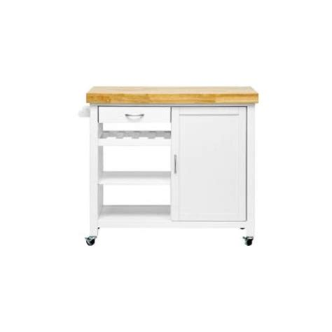baxton studio denver 41 5 in w wood mobile kitchen cart with butcher block top in white natural
