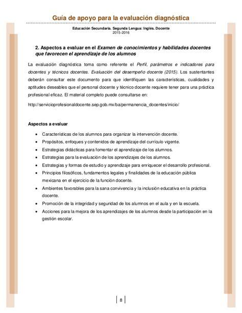 reasignacion docente 2016 area ingles secundaria gu 237 a de apoyo para la evaluaci 243 n diagn 243 stica educaci 243 n