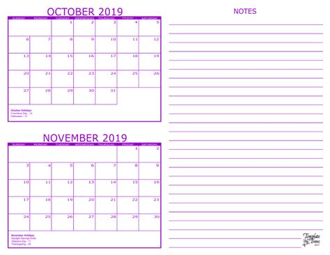 Calendar 2019 October 2 Month Calendar 2019