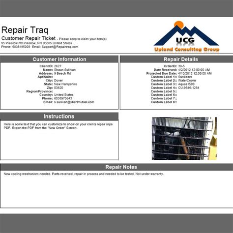 repair ticket template repairtraq free universal repair tracking system for