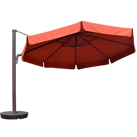 13 Foot Patio Umbrella Island Umbrella 13 Ft Octagonal Cantilever With Valance Patio Umbrella In Terra Cotta