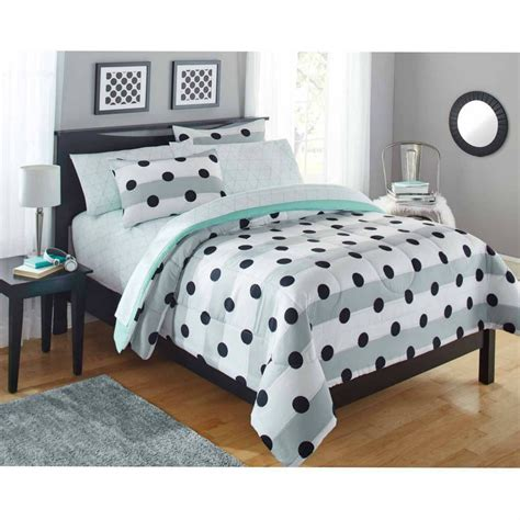 Polka Dot Bedding Girls Comforter Set Bed In Bag Twin Grey Polka Dot Bedding