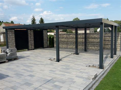 carport einseitig gabionen carport steelmanufaktur