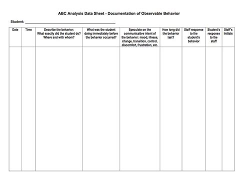 abc chart behaviour template 13 best behavior data collection images on