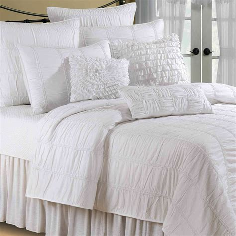 Quilted Bedding by Blanca Ruched White Cotton Quilt Bedding