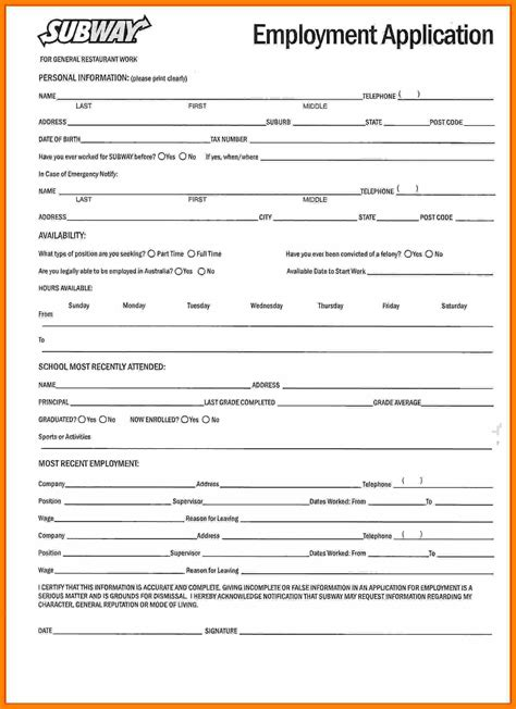 online printable job application for subway application subway job application form picture subway