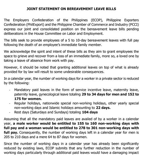joint statement  bereavement leave bills employers confederation   philippines