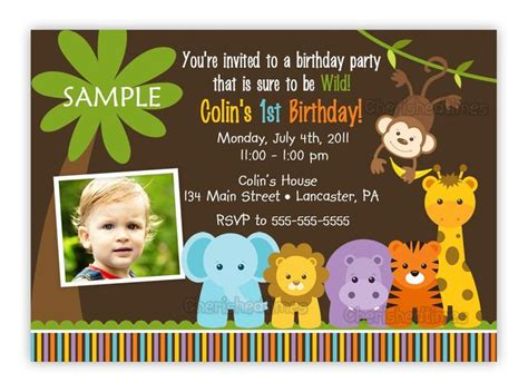 jungle themed 1st birthday party invitations birthday