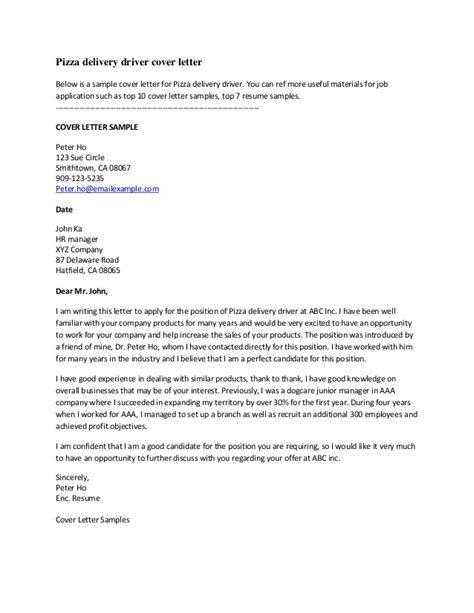 Service Letter For Driver Pizza Delivery Driver Cover Letter