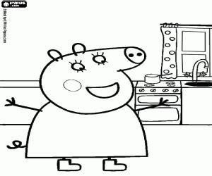 mama pig coloring page the mother of peppa pig in the kitchen coloring page