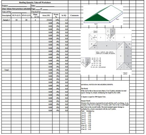 roofing quantity takeoff sheet roof construction costs
