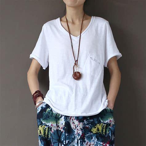 White Sleeved V Neck Shirt 1 aliexpress buy vintage white v neck shirts sleeve summer tops