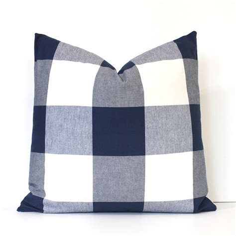 large decorative pillow covers large navy blue check designer pillow cover accent throw