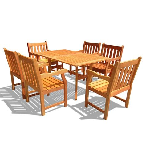 patio dining set 7 shop vifah atlantic 7 eucalyptus patio dining set at lowes