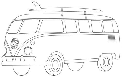 coloring page for van volkswagen bus clipart 54