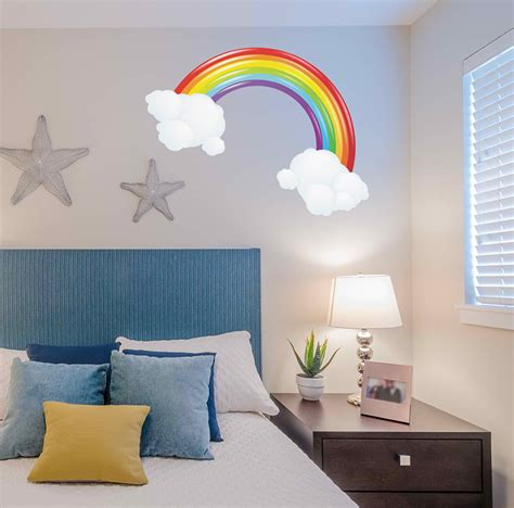 rainbow wall stickers rainbow and 2 clouds wall sticker removable wall