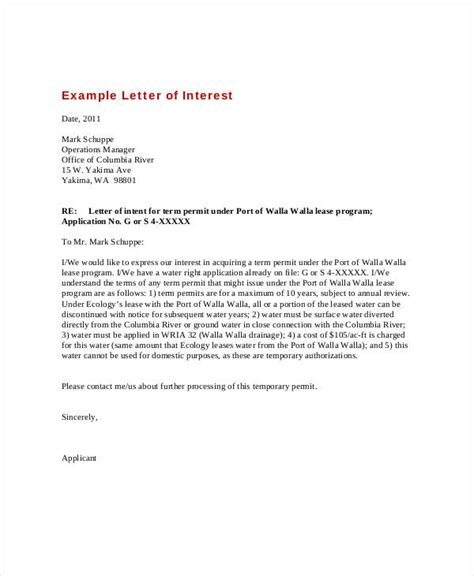 letter of interest format letter of interest exle gplusnick