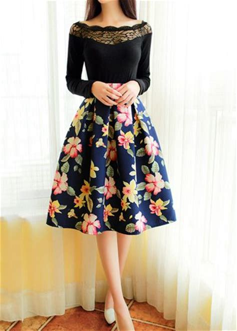 Midi Flower Punching Skirt 616 Rok Midi Rok Pesta Rok Berkualitas ways to rock a high waisted skirt acetshirt