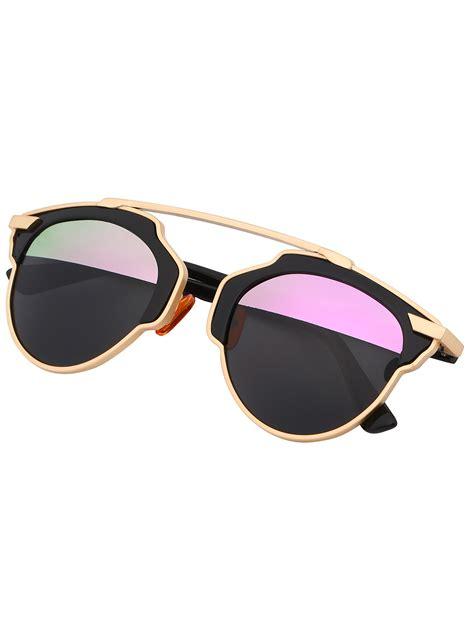 Fashion Sun Glasses contrast cut out frame fashion sunglasses shein sheinside
