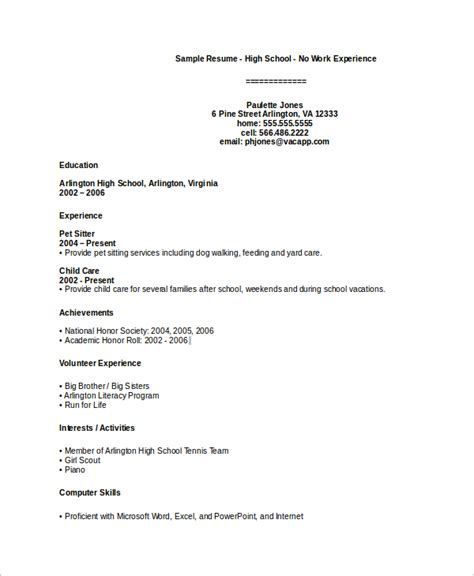 resume format for no work experience sle high school resume 7 exles in pdf
