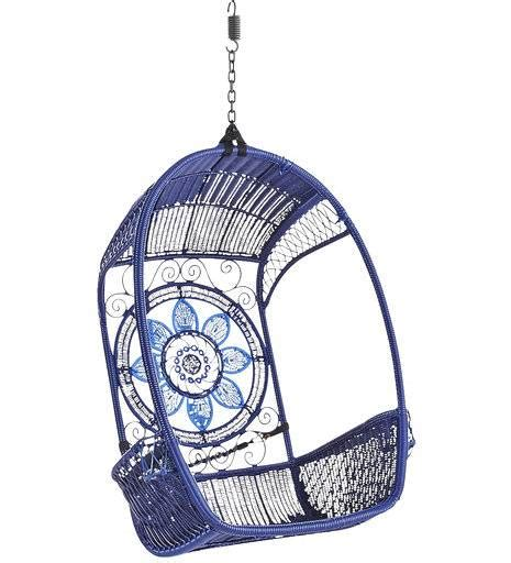 swingasan 174 blue medallion hanging chair pier 1 imports eclectic al fresco outdoor decor gets free spirited