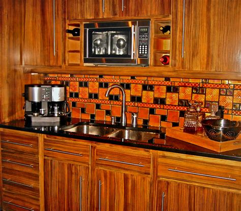 faux zebra wood cabinets contemporary kitchen kansas city by edward neer