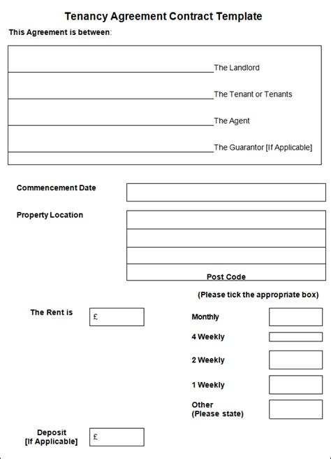 Tenancy Agreement Letter Format Sle Tenancy Agreement Contract Tenancy Agreement Contract Sle Templates