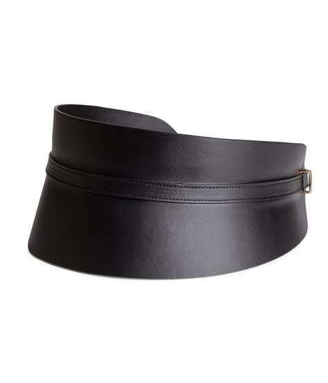 h m wide waist belt in black lyst