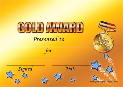 printable gold star certificate customised gold award certificate a5 pupil rewards