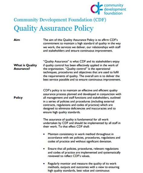 quality assurance policy templates word excel sles