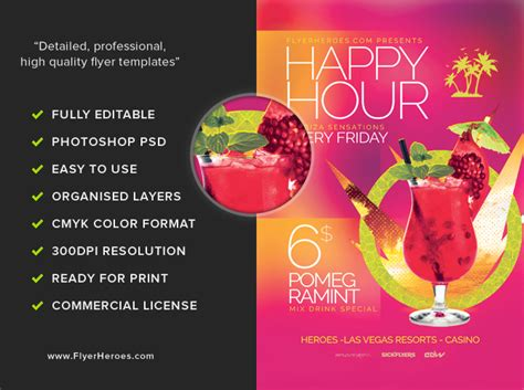 minimal happy hour flyer template flyerheroes