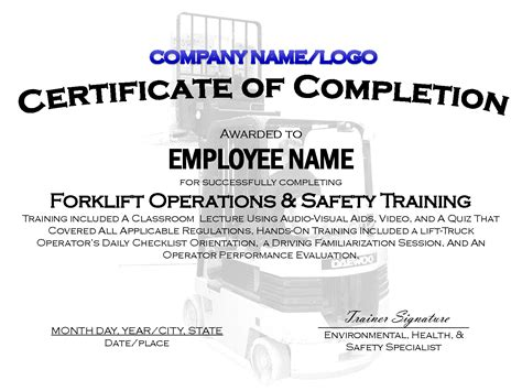forklift certification card template 9 best images of printable safety certificates safety