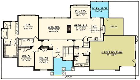 sprawling ranch house plans sprawling craftsman ranch house plan 89922ah