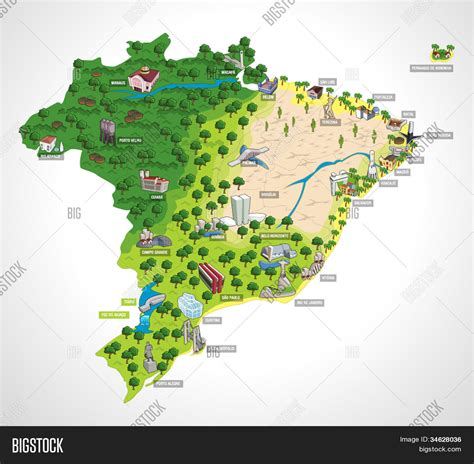 map of brazil cities map of brazil with all capitals cities of brazil stock