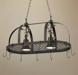 Pot Rack Chandelier 2 Light Bronze Finish Hanging Pot Rack Chandelier