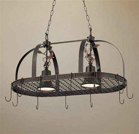 Hanging Pot And Pan Rack With Lights Rustic Style Kitchen Design With 2 Light Hanging Pot Rack