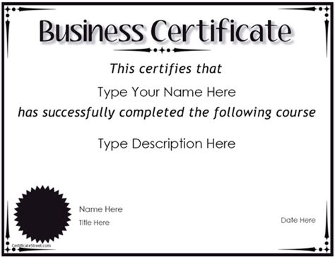 Business Certificates   Award for Completion