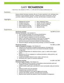 Resume Objectives For Warehouse Workers by 13 Warehouse Worker Resume Exles Sle Resumes
