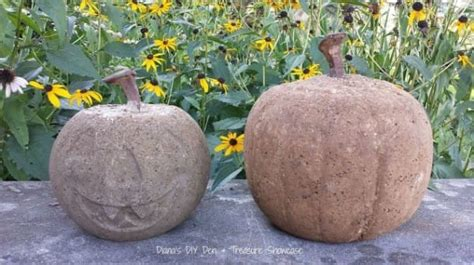 she fills a dollar store pumpkin with concrete and when