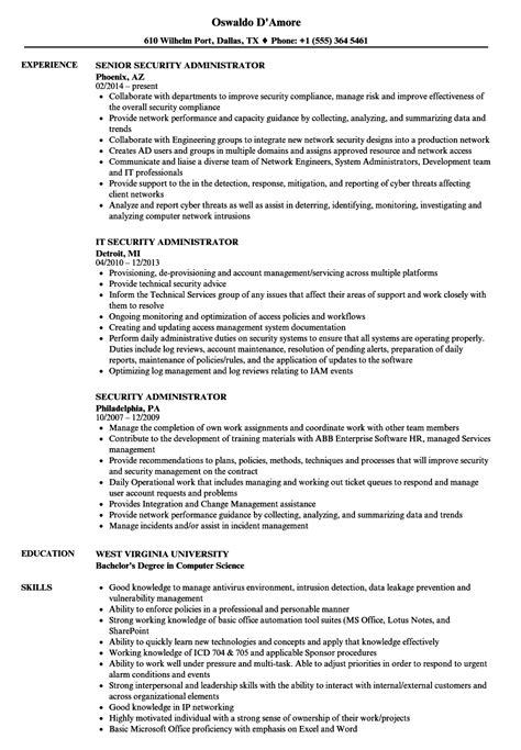 security administrator resume sles velvet