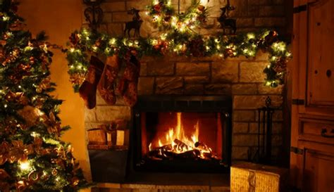 christmas decorated fireplace  hours full hd find  share gfycat gifs