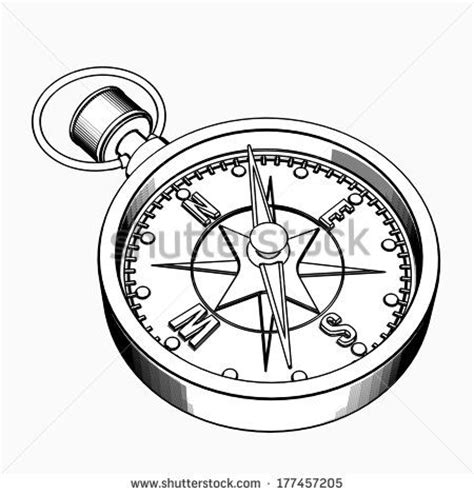 compass cartoon illustration outline high resolution 3d