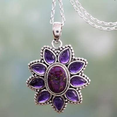 Amethyst Turquoise Composite by Silver Necklace With Amethyst And Composite Turquoise