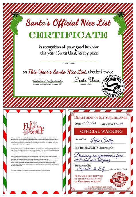free printable elf on the shelf template elf on the shelf naughty list certificate printable