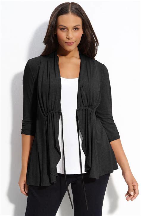 Tie Front Cardigan pleione tie front cardigan plus in black lyst