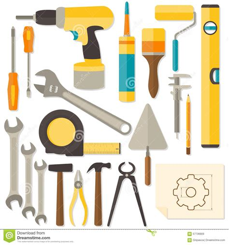 vector flat design diy and home renovation tools stock